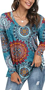 LONGYUAN Women's Basic V Neck T-Shirt Long Sleeve Comfy Casual Blouse