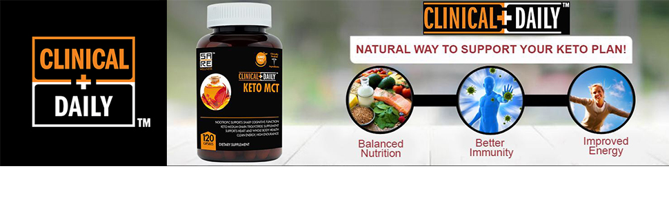 Clinical Daily Logo next to an image of the keto MCT capsules