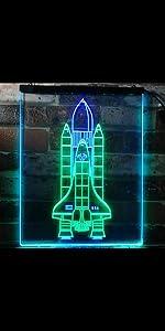 ADVPRO Dual Color LED Neon Sign Cosmos Space Astronaut Spaceman Shuttle Planet Moon Explore Rocket