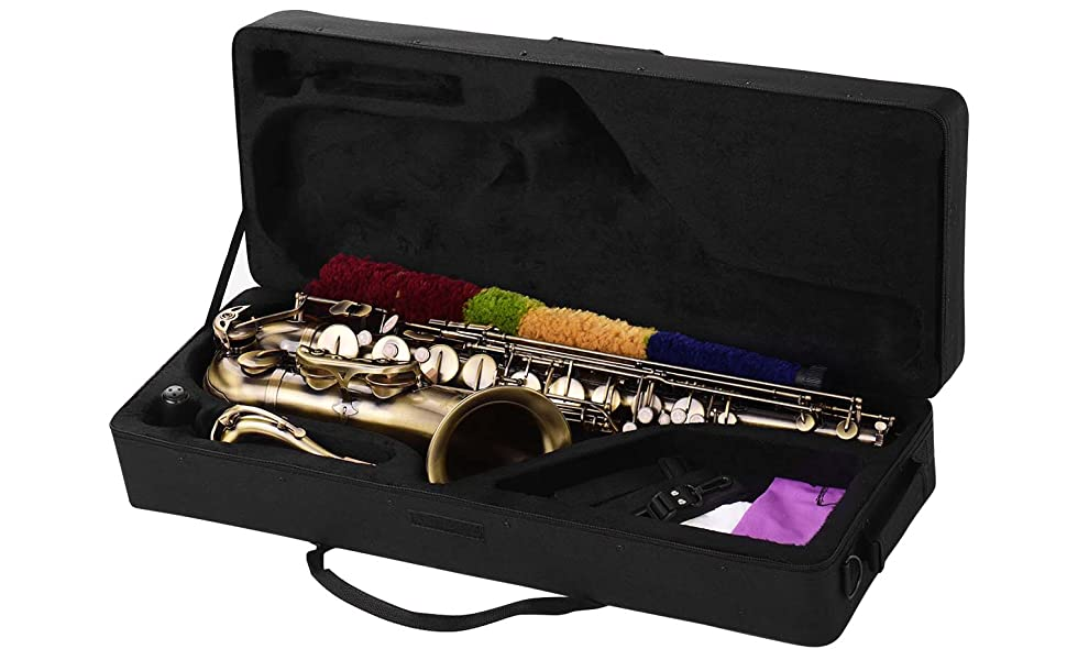 Tenor Saxophone,Bb Sax,Muslady Antique Finish Brass Body White Shell Keys with Carry Case Gloves Cleaning Cloth Brush Sax Neck Straps