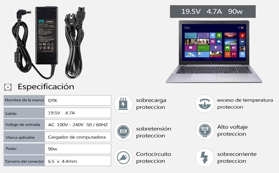 DTK 90W 19.5V 4.7A Computadora portátil Cargador Fuente de alimentación Adaptador Unidad de alimentación para portátil Sony Cargadore y adaptadore ...
