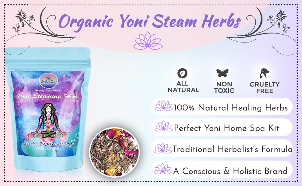 yoni steaming herbs, exsoullent, yoni steam