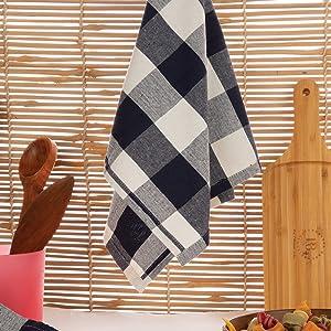 plaid towels kitchen