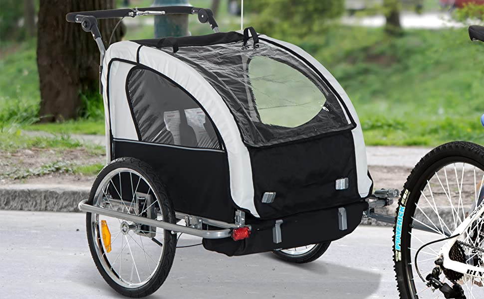 child Aosom bicycle hitch stroller cart frame cover washable removable riding errands pets baggage