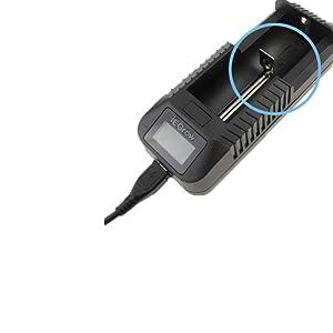 18650 Cargador, iEGrow Cargador de Pilas para 18650 26650 18500, 18350 17670 17500 16340 14500 10440 3.7V Li-Ion de Bateria con Pantalla LCD- Cargador ...