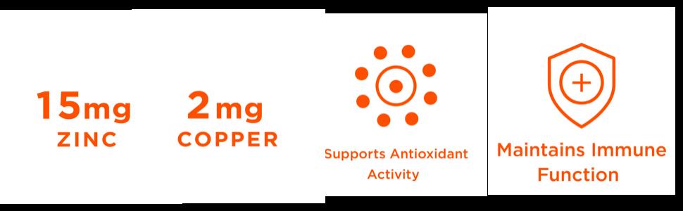 zinc with copper, immune support, antioxidant, elderberry