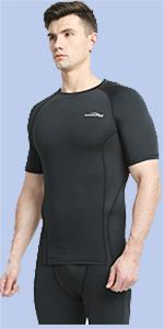 WEATLY Camiseta de Manga Corta para Hombre Baselayer Cool Dry Compression Top