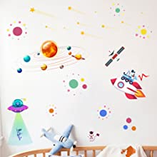 Starry Outer Space Art Print-Galaxy Planets Astronauts Space Themed for Kids Boy Bedroom Decoration