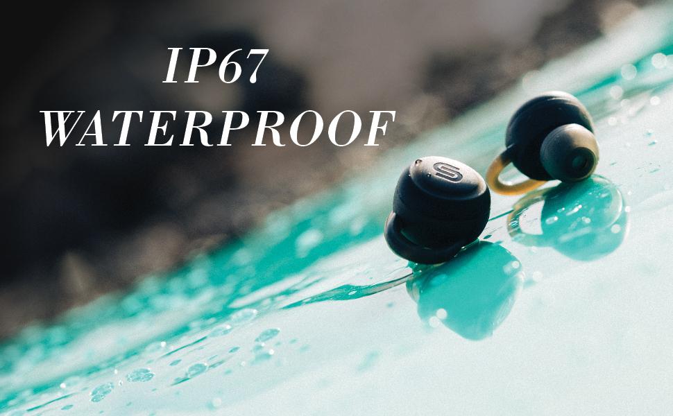 waterproof, rated, blue, surfboard, earbuds, black, water drops, wet, rain, shower, Athens