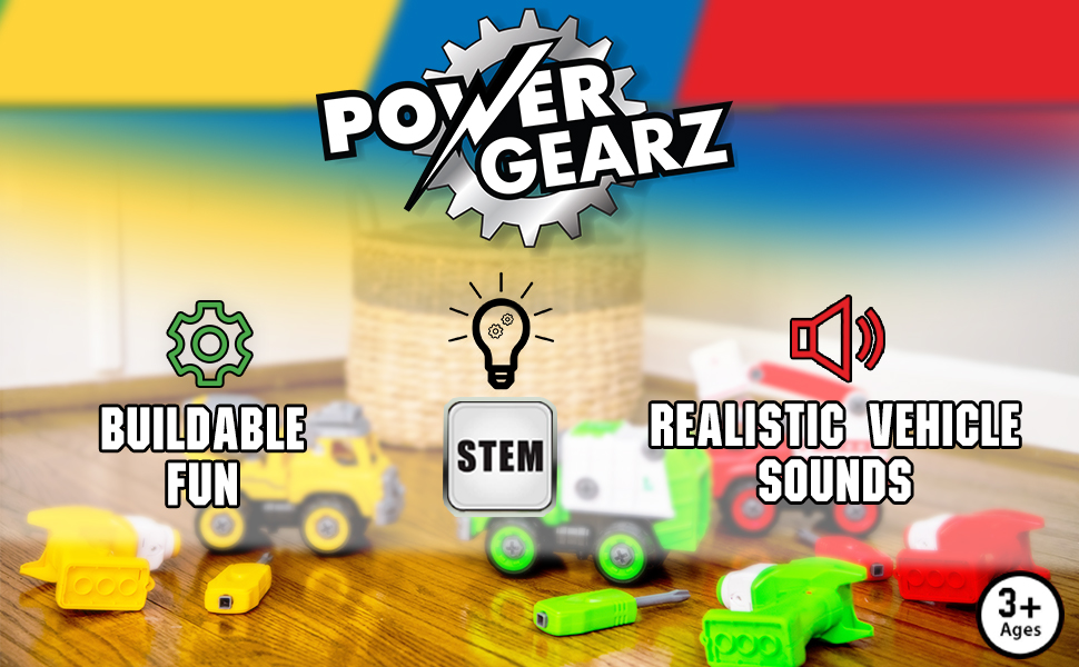 Powergearz Buildable fun, STEM, Realistic Vehicle Sounds
