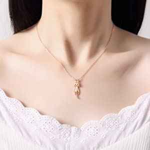 rose gold plated dainty cat kitty jewelry pendant necklace cat presents lovers simple delicate kitty