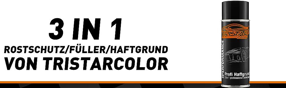 Tristarcolor 3 In 1 Rostschutz Füller Haftgrund Spraydose Sprühdose 400 Ml Grau Auto