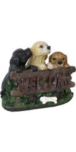 outdoor puppies statue, welcome statue, outdoor welcome statue, garden statue, outside statue, dogs