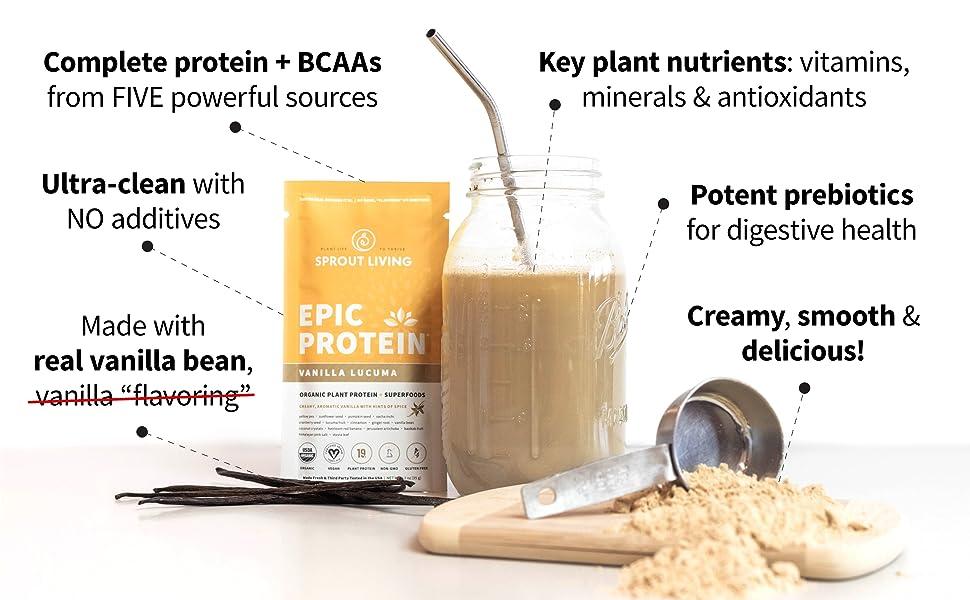 epic vanilla lucuma, vanilla lucuma powder, vanilla protein powder, organic vanilla protein