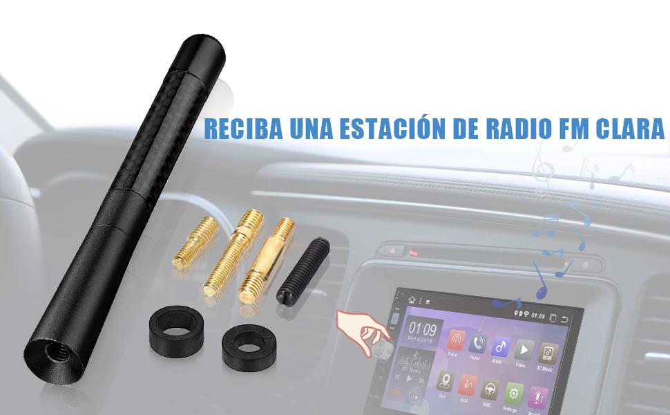 Bingfu Antena Radio Estéreo FM Am Antena Topper para Coche,Tornillos de M5.0 M6.0 Negro Corto Antena FM Am Estéreo Reemplazo para Ford Chevrolet ...