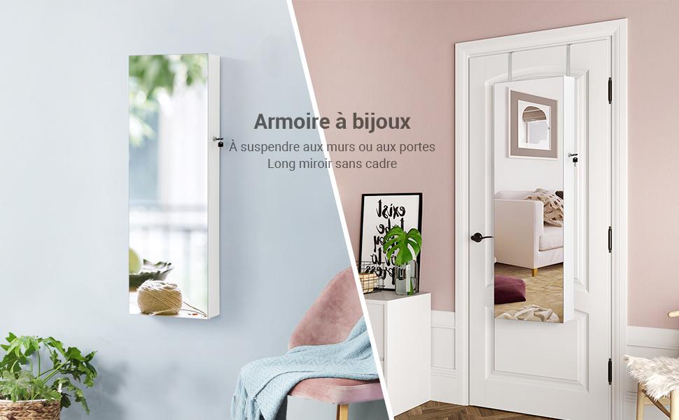 Armoire à Bijoux avec Long Miroir