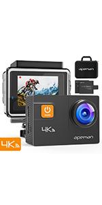 APEMAN ?Nuova Versione-50FPS Trawo Action Cam Ultra HD 4K WiFi 20MP Avanzato Sensore Videocamera EIS Stabilizzata 40M Impermeabile 2'' IPS Screen Fotocamera Subacquea con 2 1350mAh Batterie