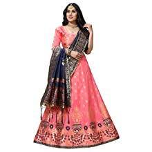 lehenga choli dupatta women Jacquard banarasi silk chania ghaghra party festival traditional wedding