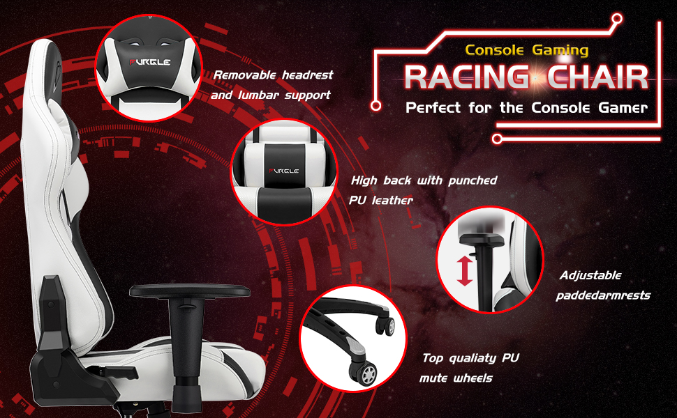 chair for gaming  【New Update】 Furgle Gaming Chair Racing Style High-Back Office Chair w/PU Leather and Adjustable Armrests Executive Ergonomic Swivel Video Game Chairs with Rocking Mode & Headrest and Lumbar Support c58c0b46 277c 4c5c ba49 6804faf4f62d