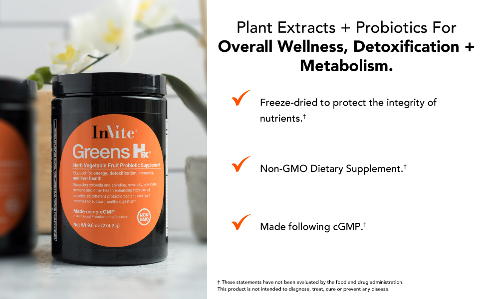 Plant extracts and probiotics for overall wellness, detoxifications and metabolism