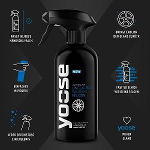 Yoose Premium Felgenreiniger 1 X 500 Ml Sprühflasche Ph Neutral Säurefrei Professionelle Felgenpflege Für Alu Und Stahlfelgen Auto
