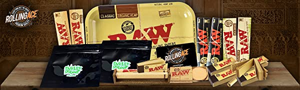 Raw Rolling Tray Rolling Machine Rolling Papers Rolling Tips Hydrostone Smelly Proof Bag Scoop Card