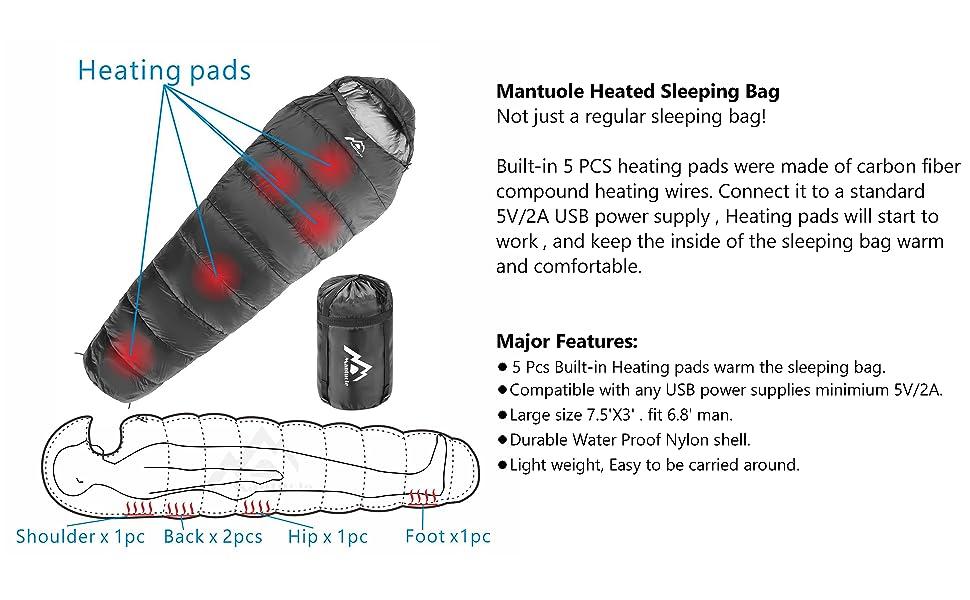 Mantuole heated sleeping bag  black basic