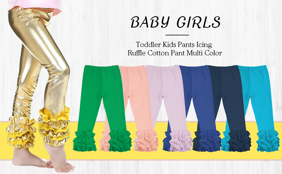 CHIC-CHIC Newborn Baby Little Girls Ruffle Leggings Tights Trousers Toddler Full Length Long Pants