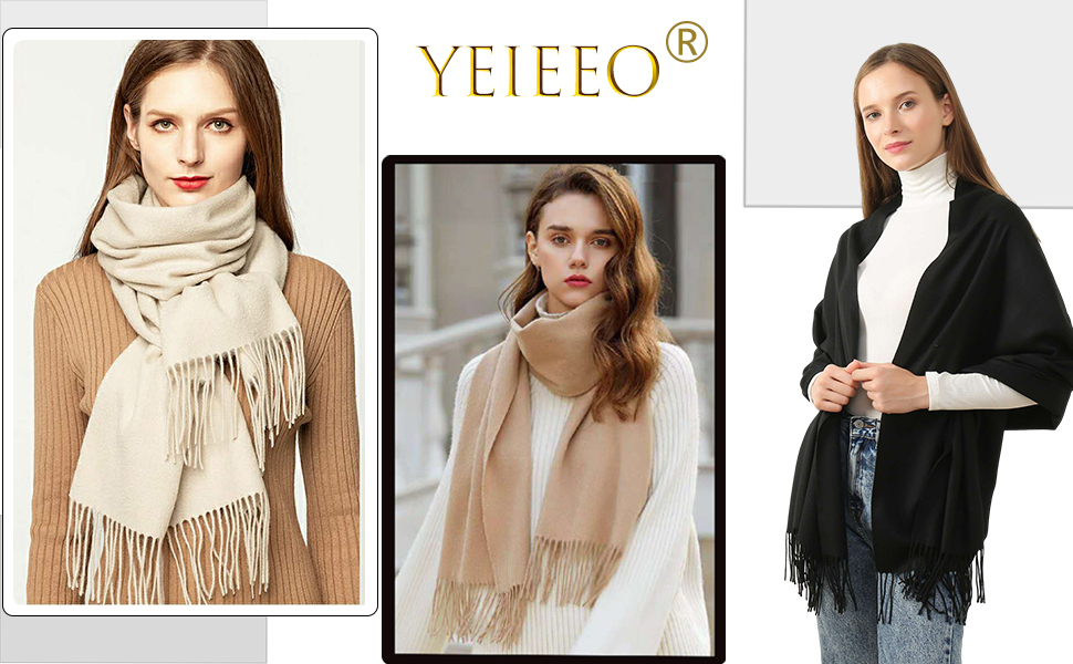 Pashmina Shawls and Wraps for Women - Lightweight Scarf in Solid Colors