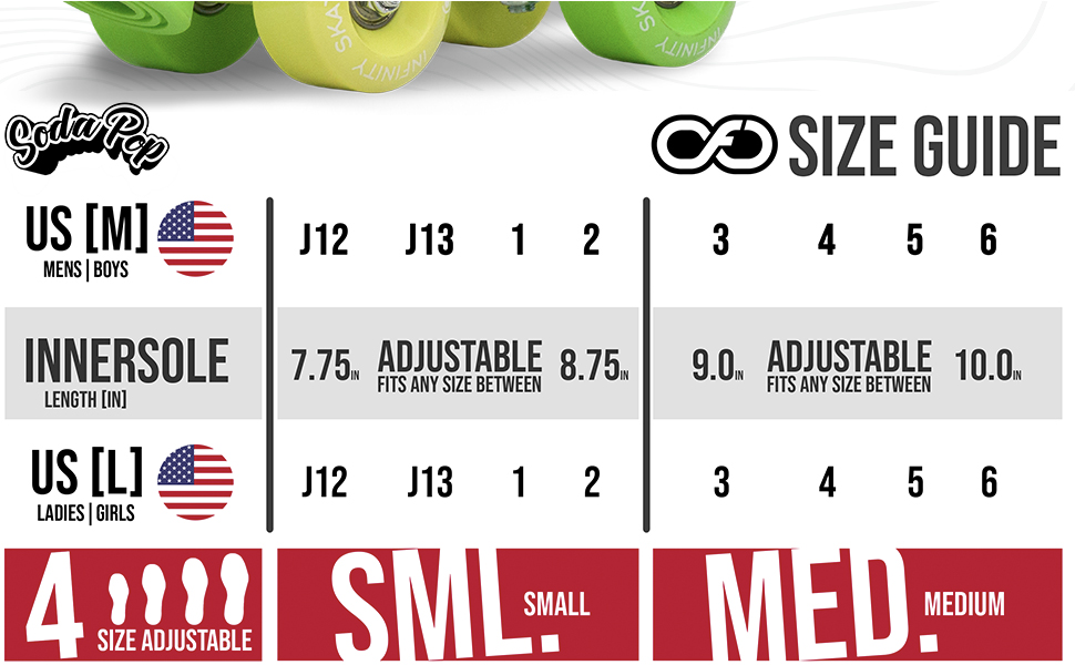 size chart for adjustable quad roller skates grows grow small smaller big bigger value save money