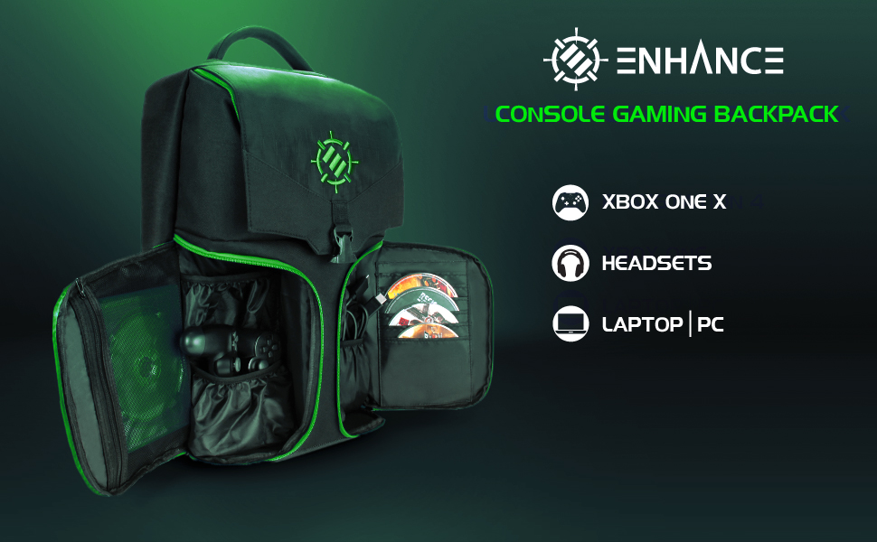 Gaming backpack opened up to show contents inside