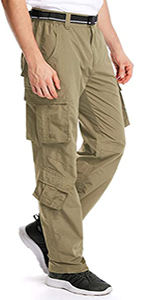 Men's Outdoor Casual Quick Drying Hiking Cargo Pants with 8 Pockets