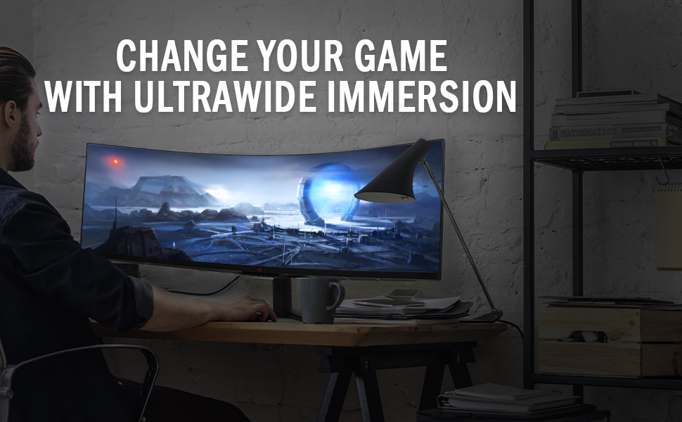 game gaming monitor pc computer curved ultra wide widescreen high resolution professional pro black
