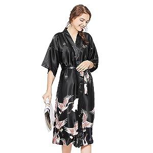 ZAPZEAL Ladies Silk Satin Dressing Gown Long Kimono Robe Size UK 8-18