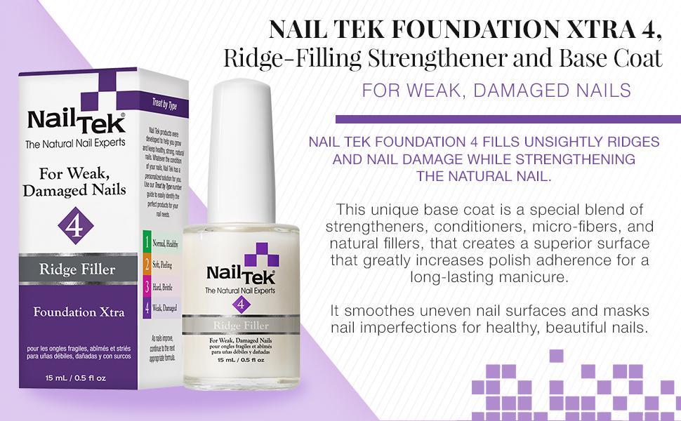 Nail Tek Foundation Xtra 4, Ridge Filling Strengthening Base Coat for Weak and Damaged Nails