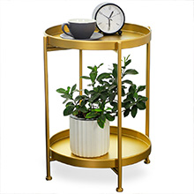 2 Tier Metal End Table, Round Side Table