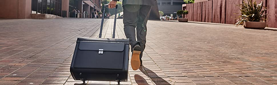 alpine swiss rolling briefcase attache lawyer rolling telescoping handle luggage