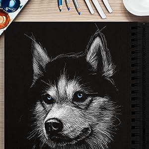 black paper sketchpad
