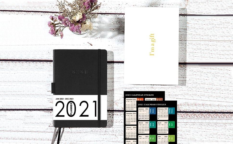 Agenda 2021, Agenda Académica A5 Semanal para ver la agenda de enero de 2021 a diciembre de 2021, agenda semanal con funda de cuero, bolsillo interior con presilla para bolígrafo y 88