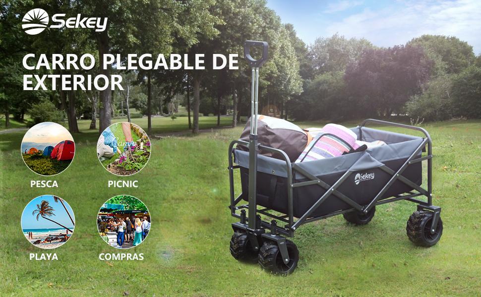 Sekey Carrito de Jardín Plegable Carro Plegable Carretilla para ...