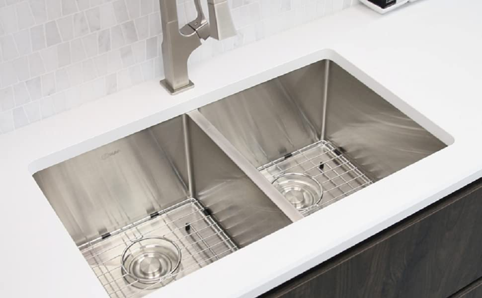 28 In Undermount Kitchen Sink Double Bowl Bottom Grids Luxury Basket Strainers 16 Gauge Stainless Steel S 300xg