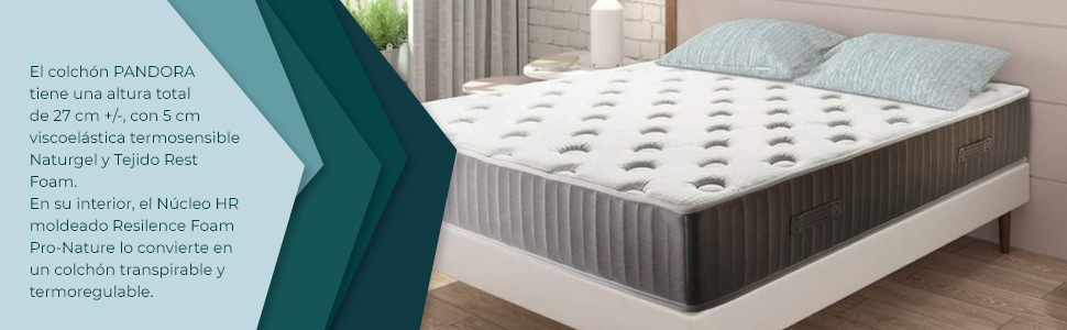 Adara Home Pandora - Colchón Viscoelástico Naturgel 120x190, Especial Transpirable y termoregulable