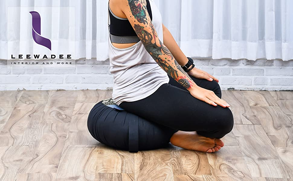 zafu pillow cushion yoga practice exercise meditation relax-ing lounging sitting floor organic