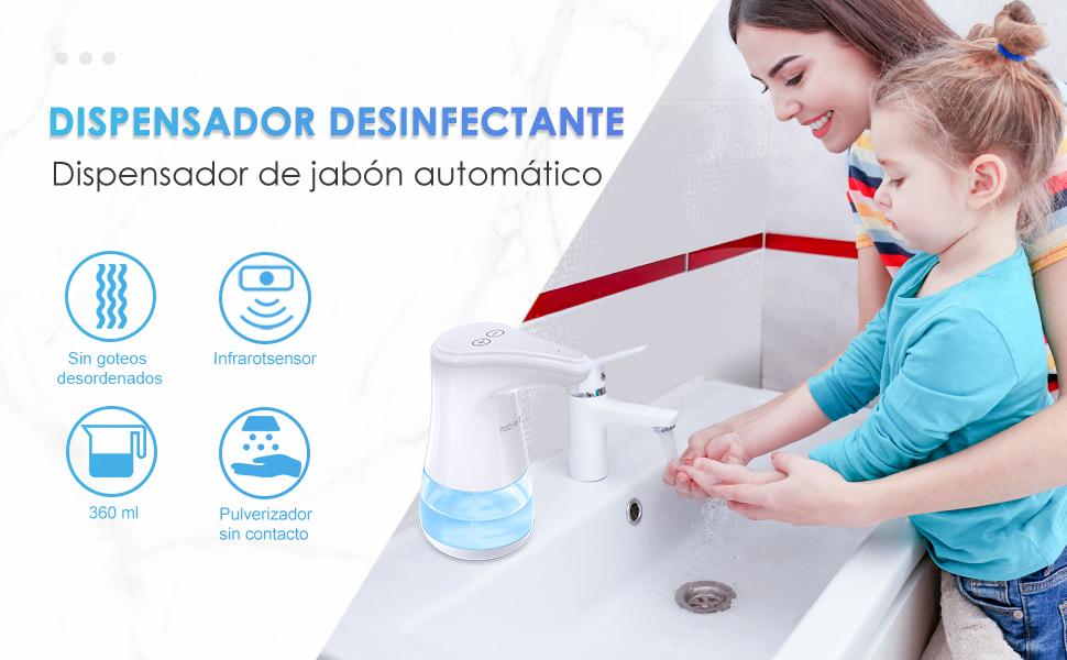 Tesoky Dispensador Jabon Dispensador Gel Hidroalcoholico con Infrared Inducci/ón Autom/ática sin Contacto Botellas de Pulverizador Dispensador de Desinfectante Manos