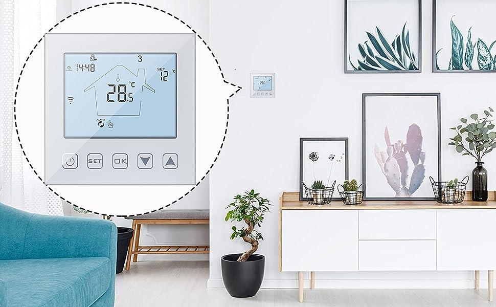 WiFi Smart Thermostat Electric Underfloor Heating Compatible Amazon Echo/Google Home/IFTTT/Tuya