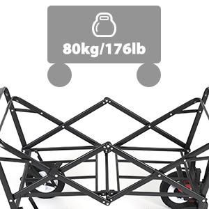 Negro Carrito Plegable Carretillas de Jard/ín Sekey Carretillas de Carro Plegable con Frenos Carrito transportador Apto para Todo Tipo de Fondos para jard/ín
