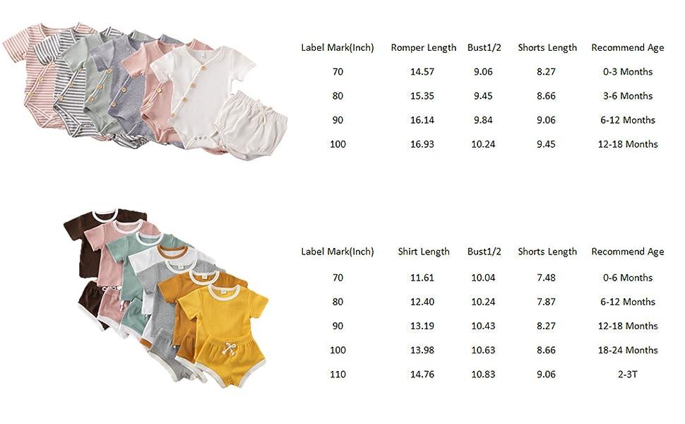 Unisex Babies Romper Shirt Shorts Set