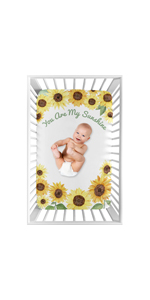 Yellow Green and White Sunflower Boho Floral Girl Baby Nursery Fitted Mini Portable Crib Sheet