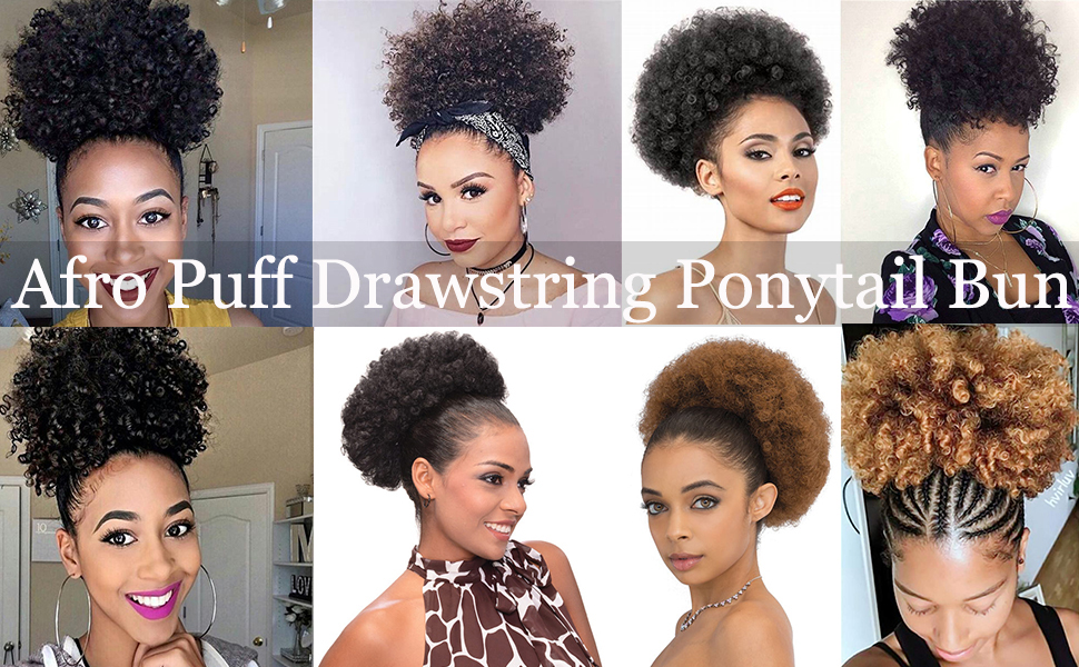 Afro Puff Drawstring Ponytail for Black Women Curly Hair Ponytail Extension Afro Bun