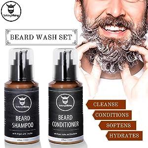striking viking, viking beard shampoo, beard wash set, beard shampoo and beard conditioner for men